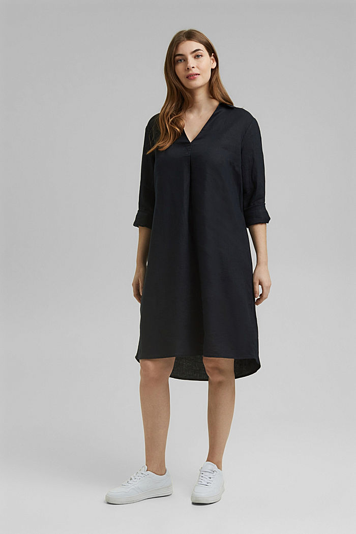 Made of 100% linen: dress with a tie-around belt, BLACK, detail image number 5