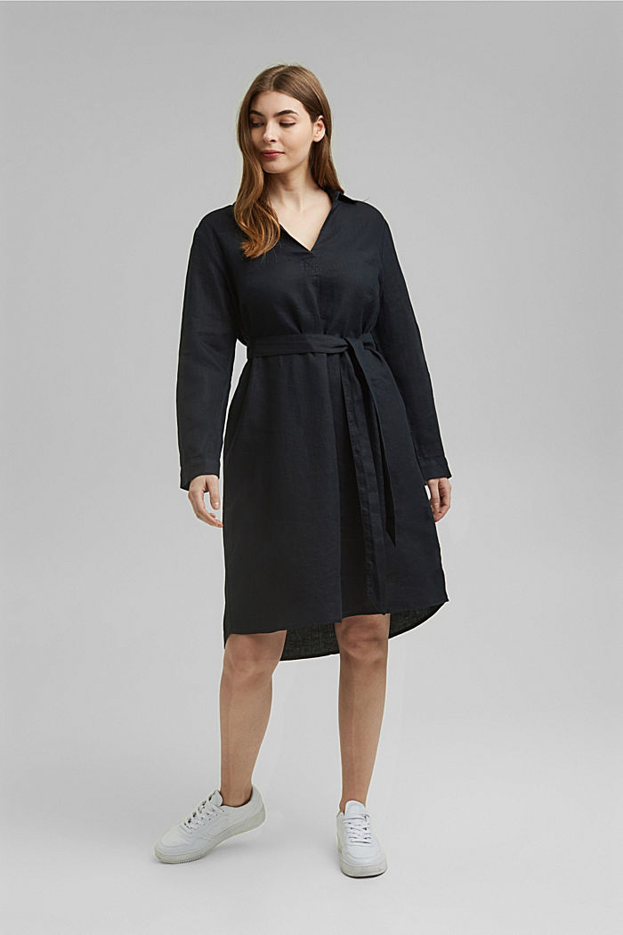 Made of 100% linen: dress with a tie-around belt, BLACK, detail image number 1