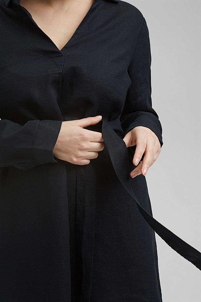Made of 100% linen: dress with a tie-around belt, BLACK, detail image number 3