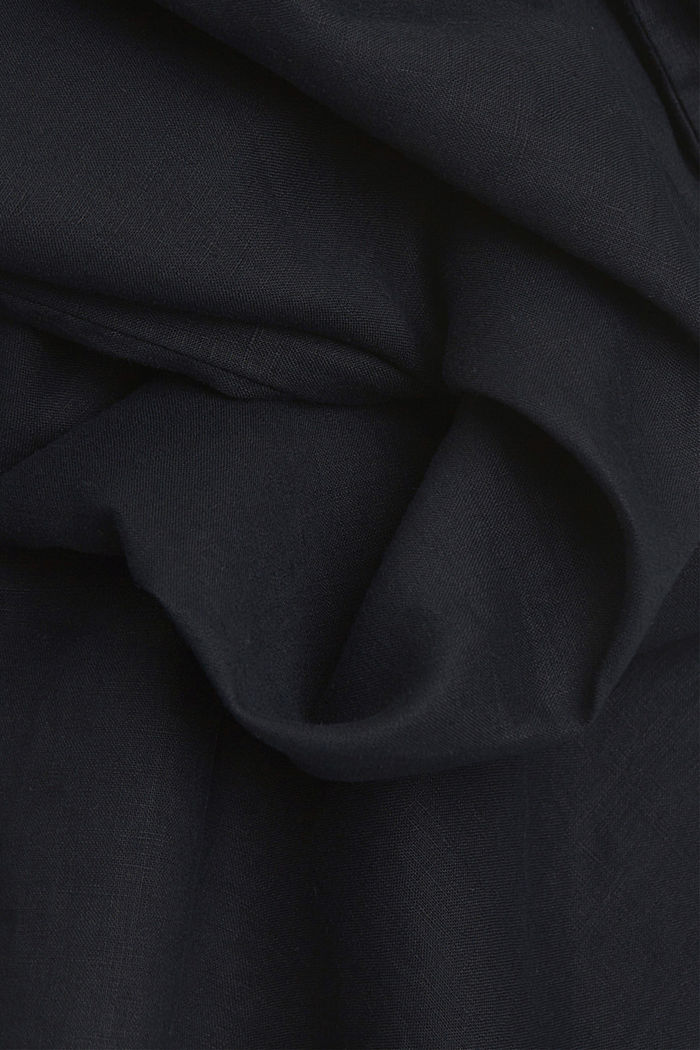 Made of 100% linen: dress with a tie-around belt, BLACK, detail image number 4