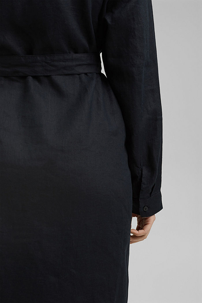 Made of 100% linen: dress with a tie-around belt, BLACK, detail image number 6