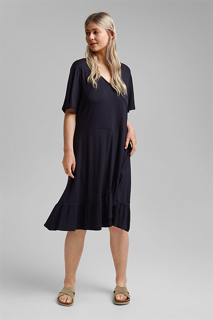 CURVY jersey dress, LENZING™ ECOVERO™, NAVY, detail image number 1