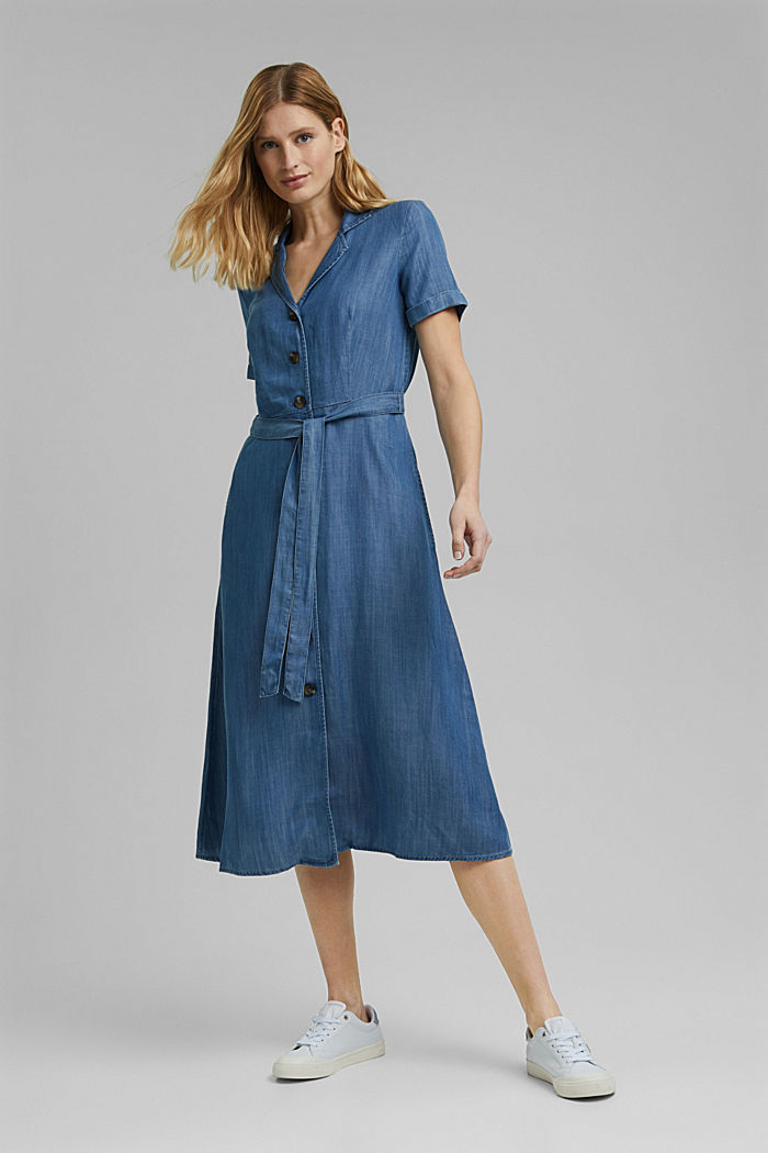 Aus TENCEL™: Midikleid im Denim-Look