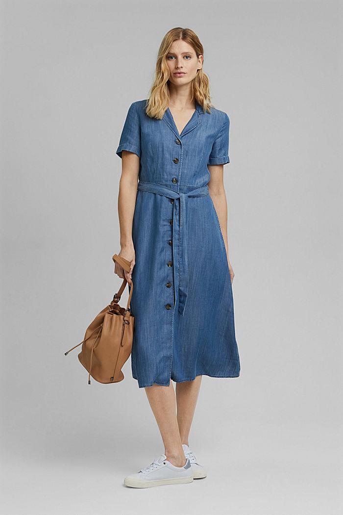 En TENCEL™: vestido midi con acabado vaquero, BLUE MEDIUM WASHED, detail image number 1