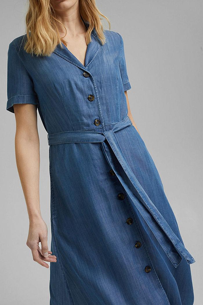 En TENCEL™: vestido midi con acabado vaquero, BLUE MEDIUM WASHED, detail image number 3