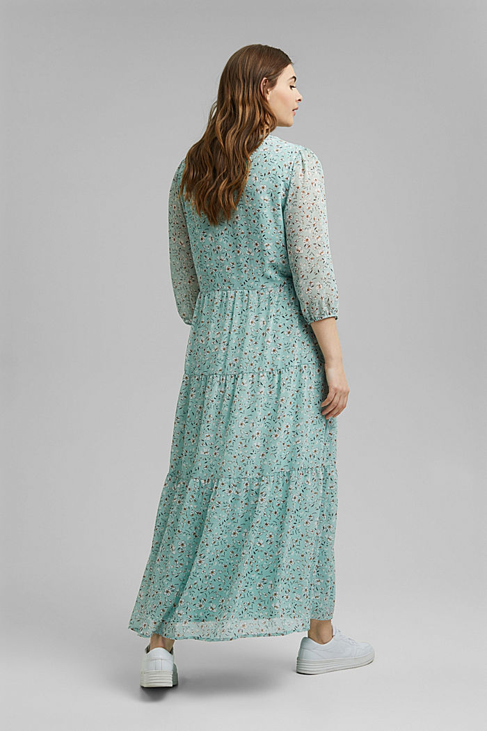 CURVY recycled: crushed chiffon maxi dress, TURQUOISE, detail image number 2