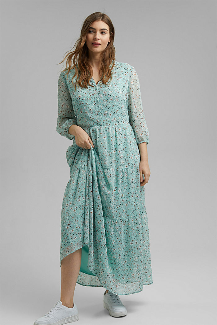 CURVY recycled: crushed chiffon maxi dress, TURQUOISE, detail image number 1