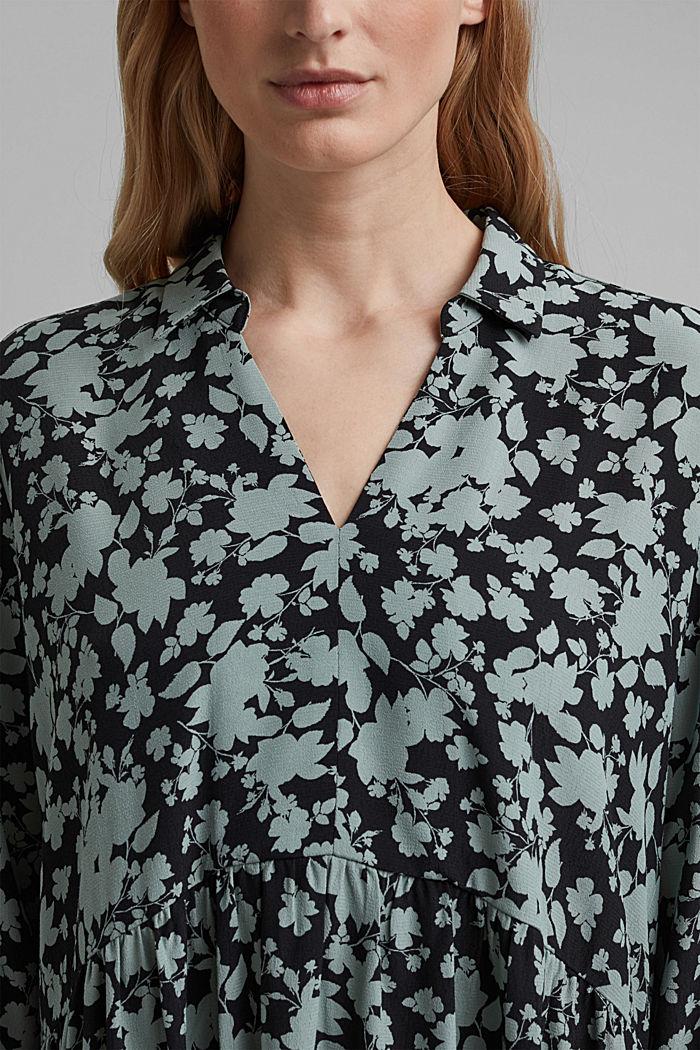 Fließendes Hängerchen-Kleid mit Blumen-Print, TURQUOISE COLORWAY, detail image number 3