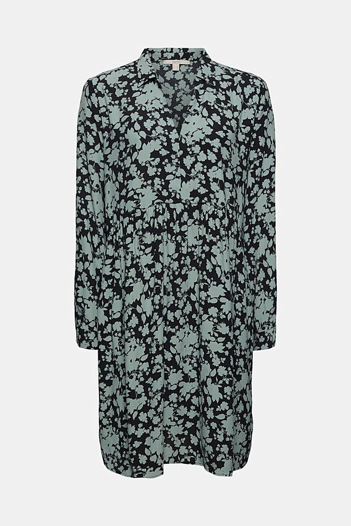Fließendes Hängerchen-Kleid mit Blumen-Print, TURQUOISE COLORWAY, detail image number 5