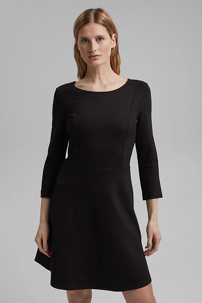 Dress in compact stretch jersey, BLACK, detail image number 0