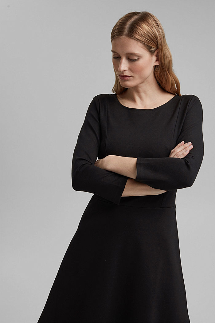 Dress in compact stretch jersey, BLACK, detail image number 5