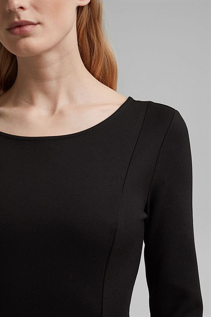 Dress in compact stretch jersey, BLACK, detail image number 3