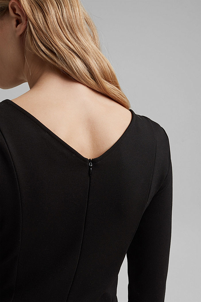 Dress in compact stretch jersey, BLACK, detail image number 6
