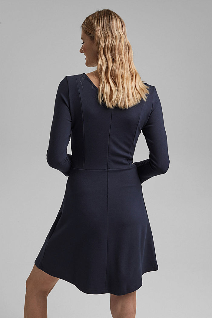 Dress in compact stretch jersey, NAVY, detail image number 2