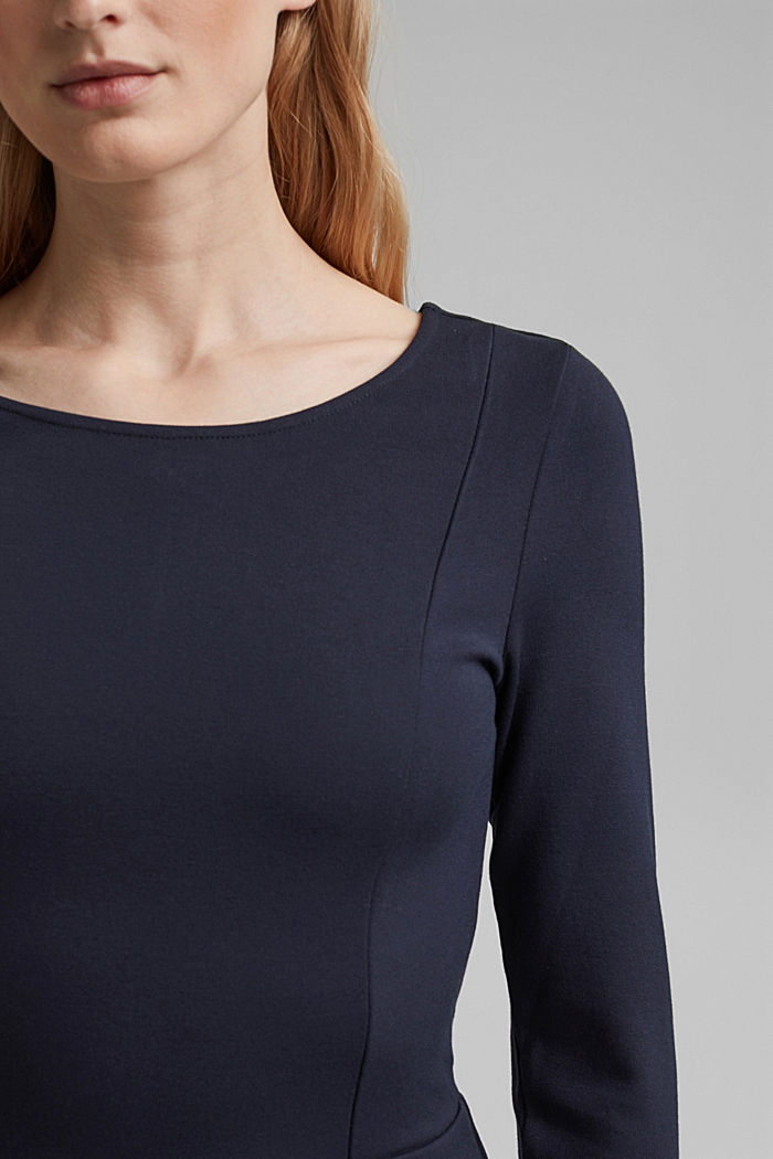 Dress in compact stretch jersey, NAVY, detail image number 3