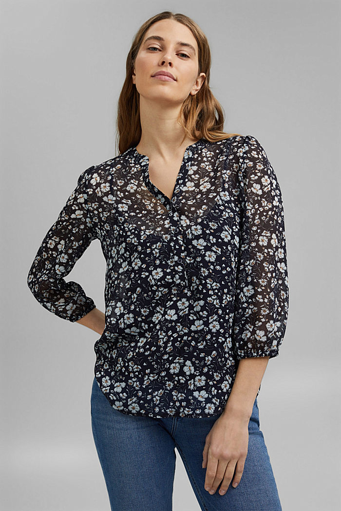 Recycled: printed chiffon blouse, NAVY, detail image number 0