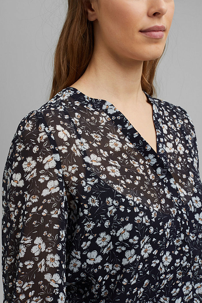 Recycled: printed chiffon blouse, NAVY, detail image number 2
