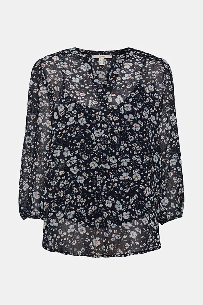 Recycled: printed chiffon blouse, NAVY, detail image number 5