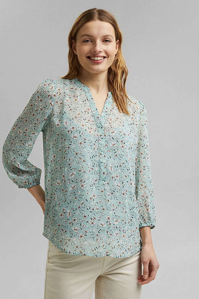 Recycled: printed chiffon blouse, TURQUOISE, detail image number 0