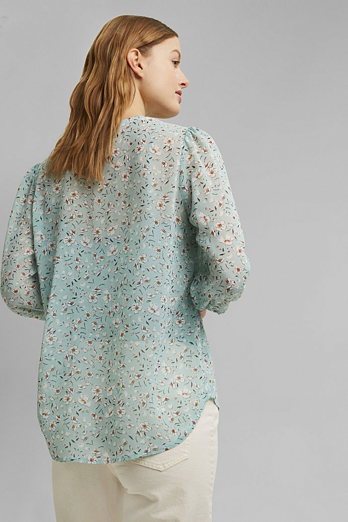 Recycled: printed chiffon blouse, TURQUOISE, detail image number 3