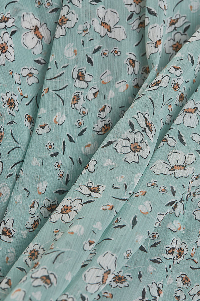 Recycled: printed chiffon blouse, TURQUOISE, detail image number 4