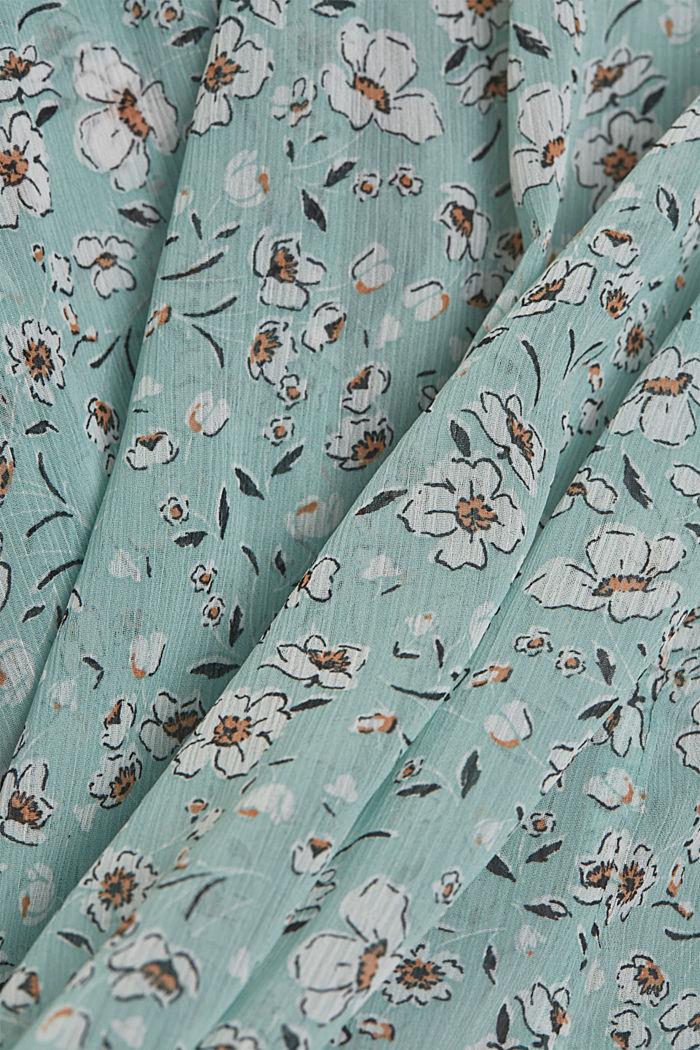 Z recyklingu: Szyfonowa bluzka z nadrukiem, TURQUOISE, detail image number 4