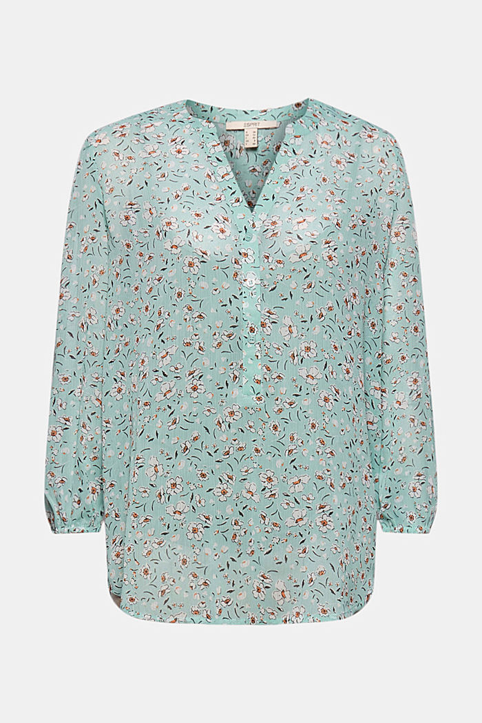 Recycled: printed chiffon blouse, TURQUOISE, detail image number 5