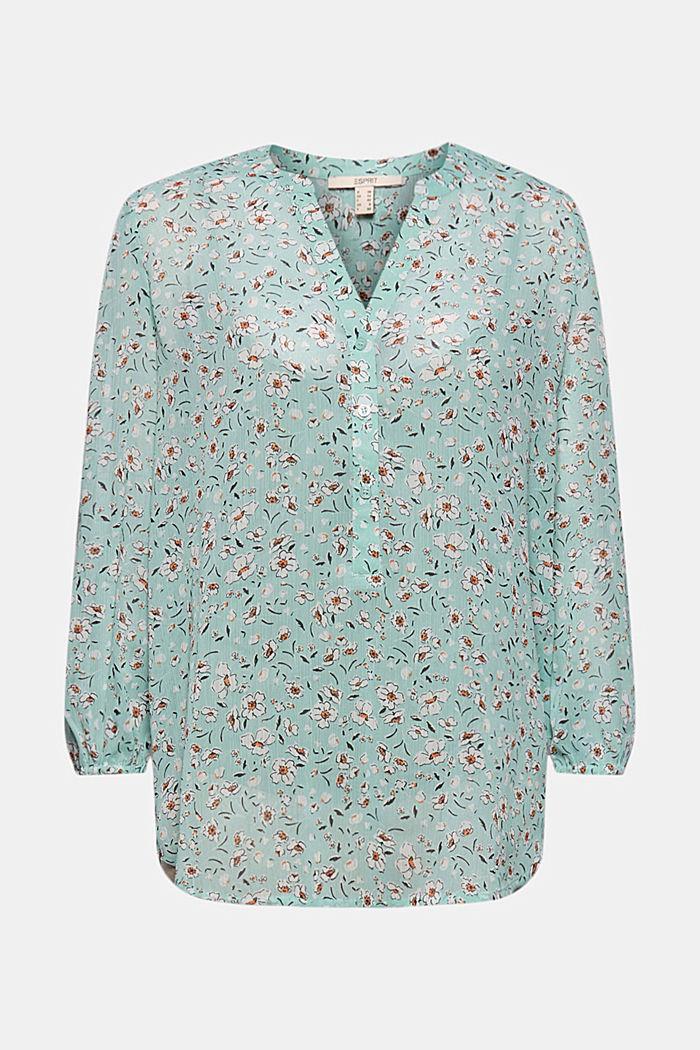 Z recyklingu: Szyfonowa bluzka z nadrukiem, TURQUOISE, detail image number 5