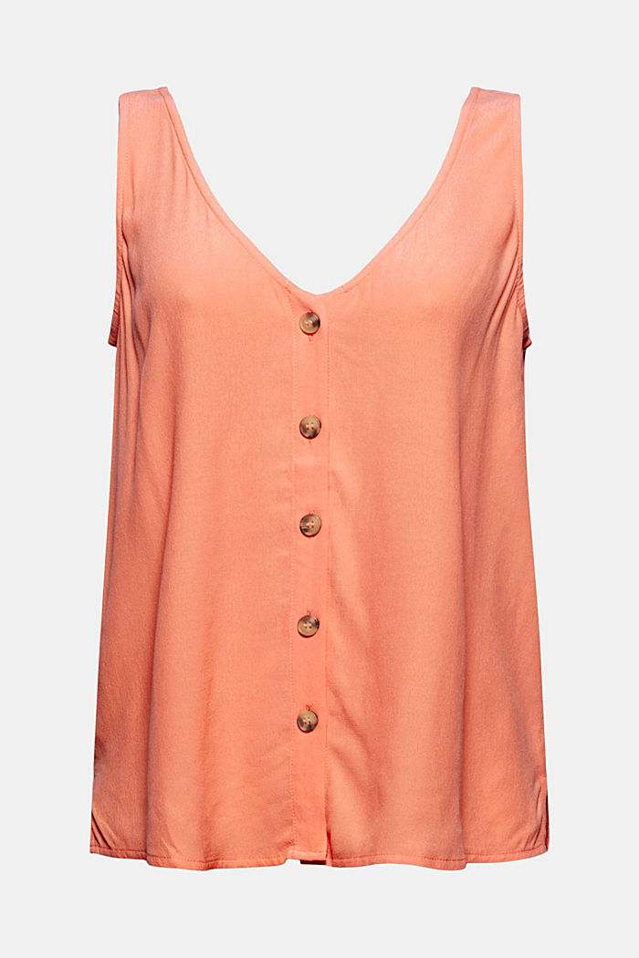 LENZING™ ECOVERO™ top with a button placket, CORAL ORANGE, detail image number 5