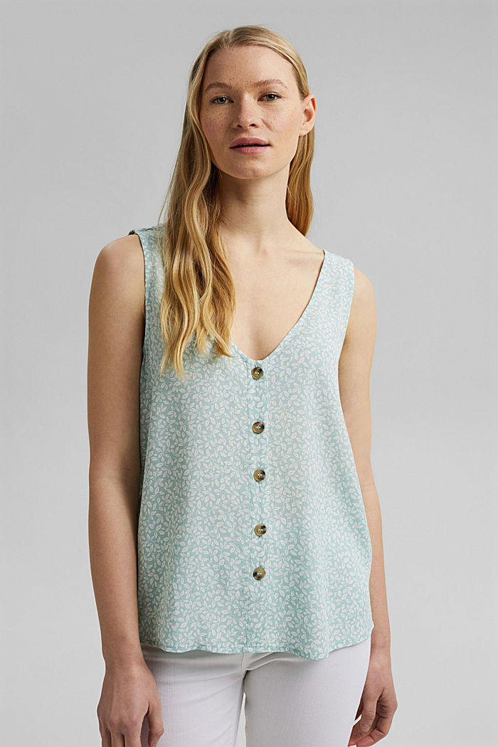 Blouse top with a button placket and double V-neck, LIGHT AQUA GREEN, detail image number 0