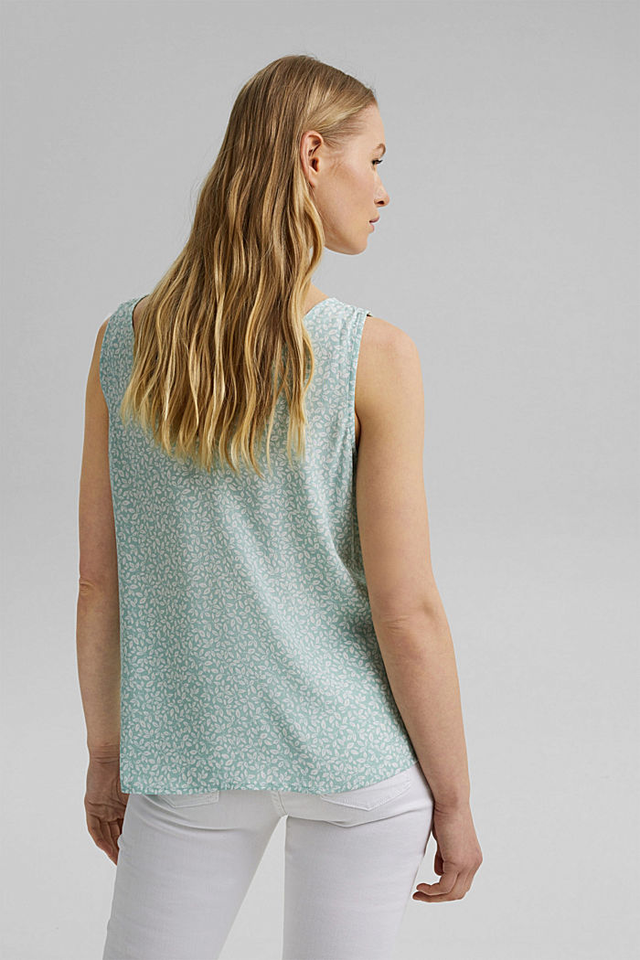 Blouse top with a button placket and double V-neck, LIGHT AQUA GREEN, detail image number 3