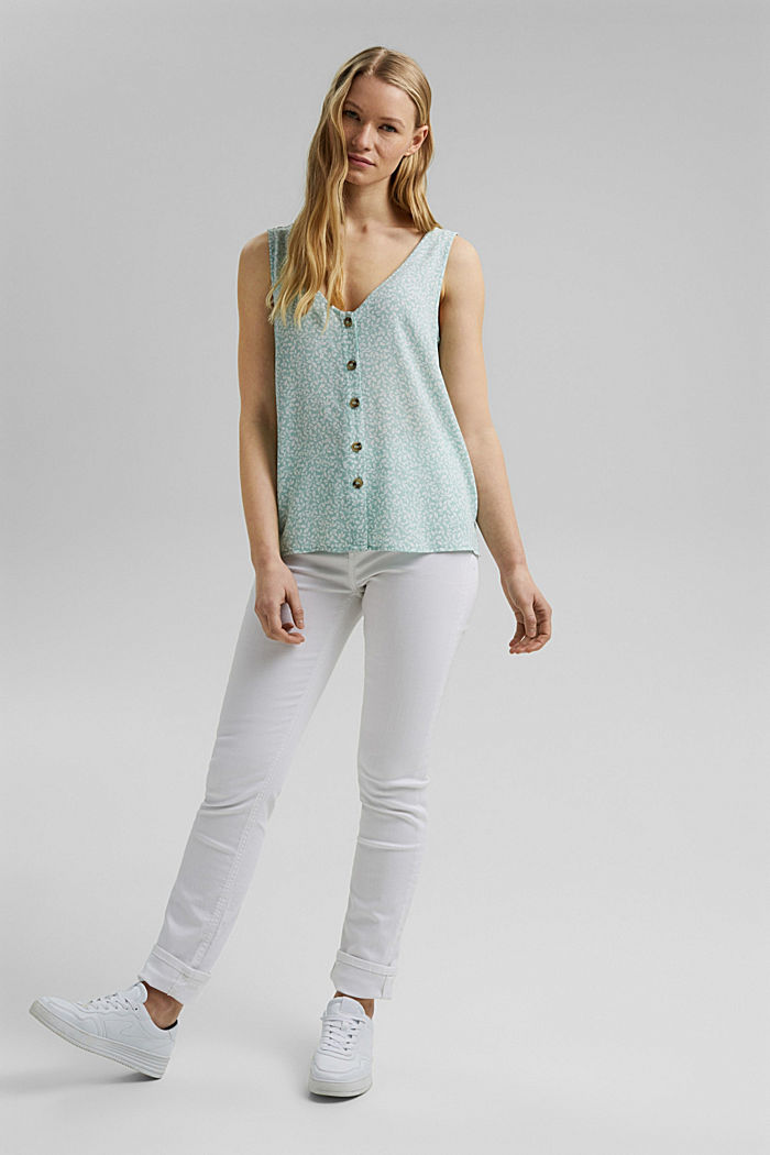 Blouse top with a button placket and double V-neck, LIGHT AQUA GREEN, detail image number 1