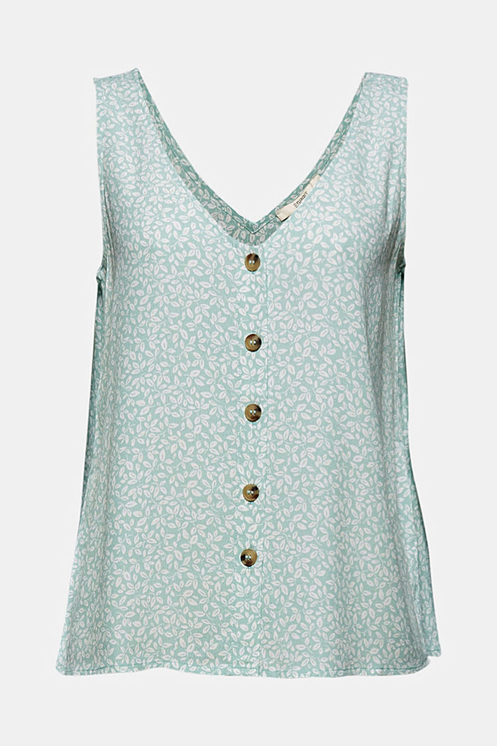 Blouse top with a button placket and double V-neck, LIGHT AQUA GREEN, detail image number 5
