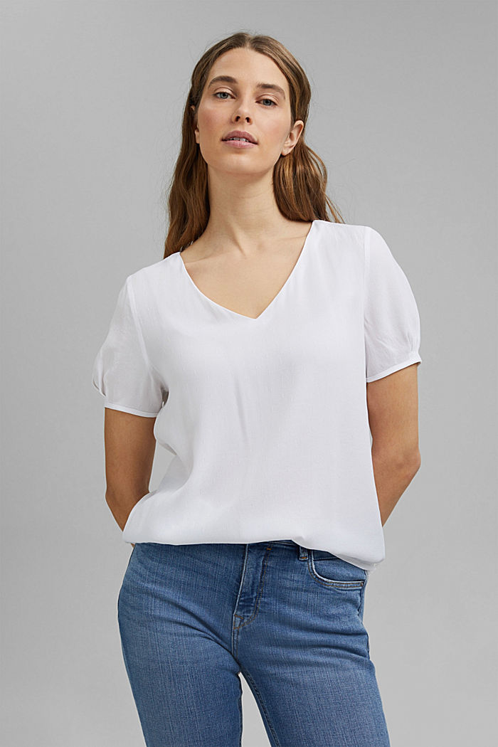 Blouse top with a fine texture, WHITE, detail image number 0
