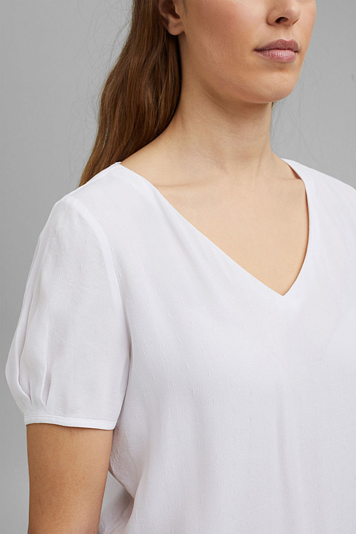 Blouse top with a fine texture, WHITE, detail image number 2