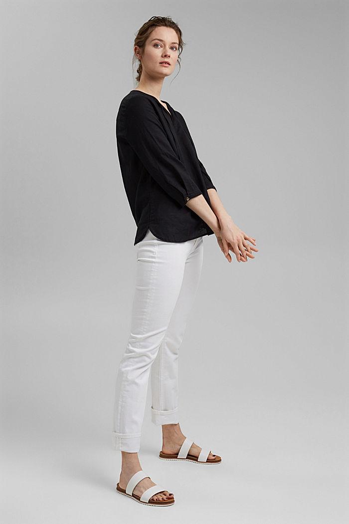 Blended linen: tunic blouse, BLACK, detail image number 1