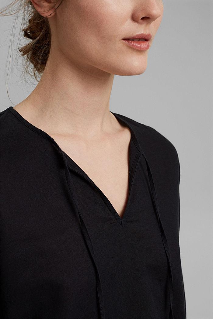 Blended linen: tunic blouse, BLACK, detail image number 2