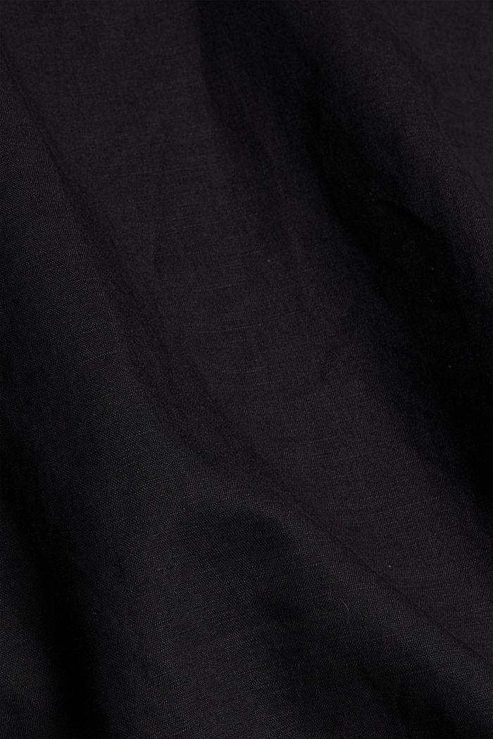 Blended linen: tunic blouse, BLACK, detail image number 4