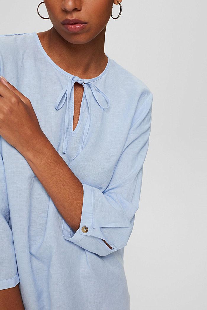 Blended linen: tunic blouse, LIGHT BLUE, detail image number 2