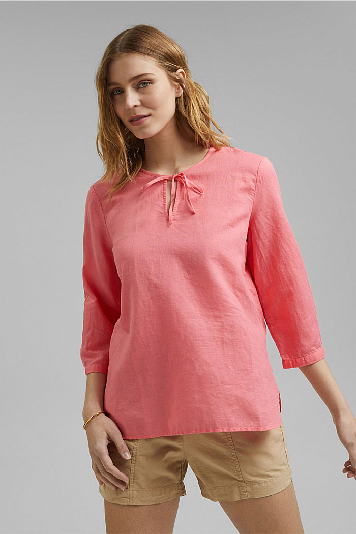 Blended linen: tunic blouse, CORAL, detail image number 0