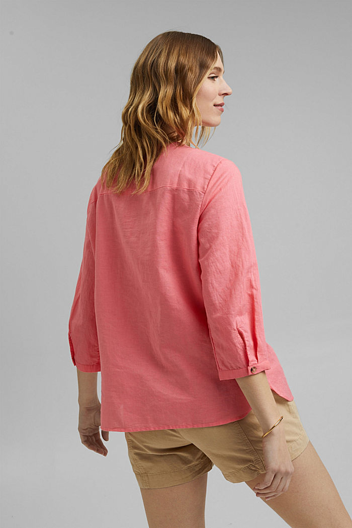 Blended linen: tunic blouse, CORAL, detail image number 3