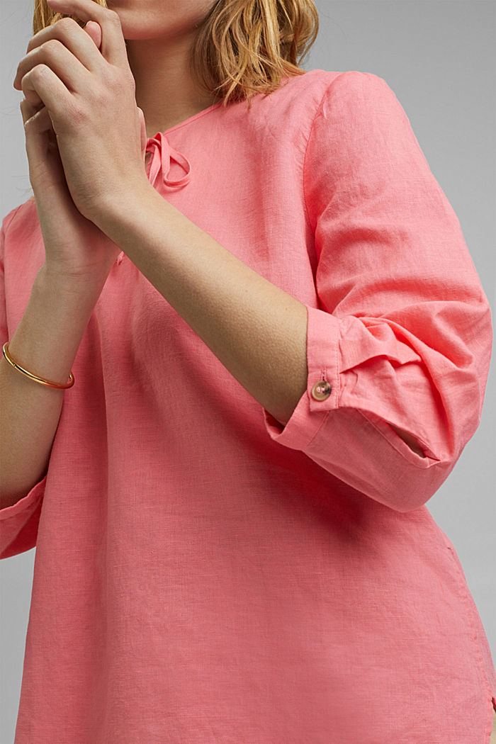 Blended linen: tunic blouse, CORAL, detail image number 2