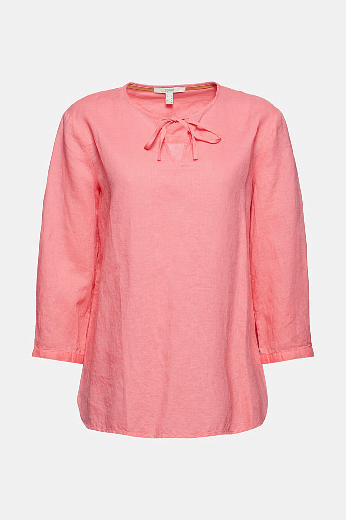 Blended linen: tunic blouse, CORAL, detail image number 7