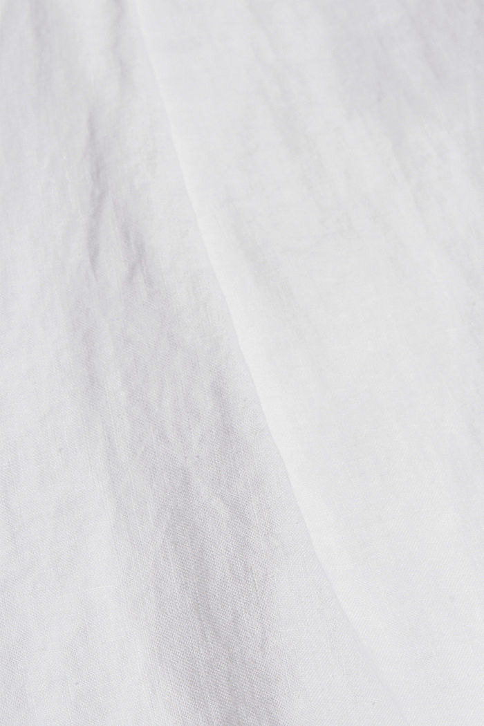 Aus 100% Leinen: Hemdbluse mit Turn-Ups, WHITE, detail image number 4