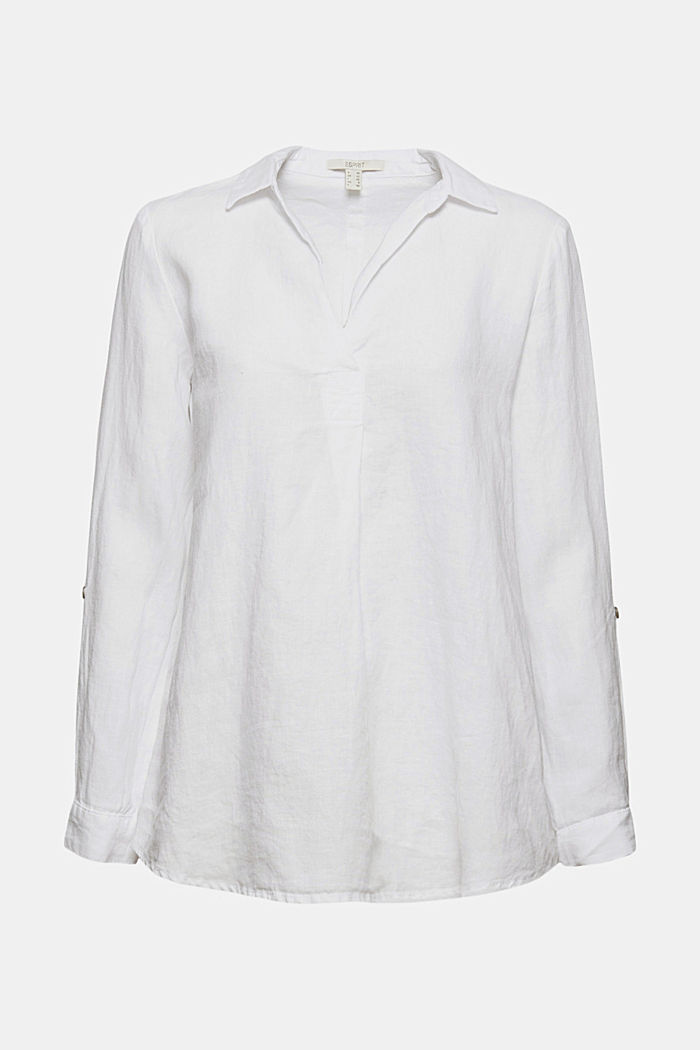Aus 100% Leinen: Hemdbluse mit Turn-Ups, WHITE, detail image number 6
