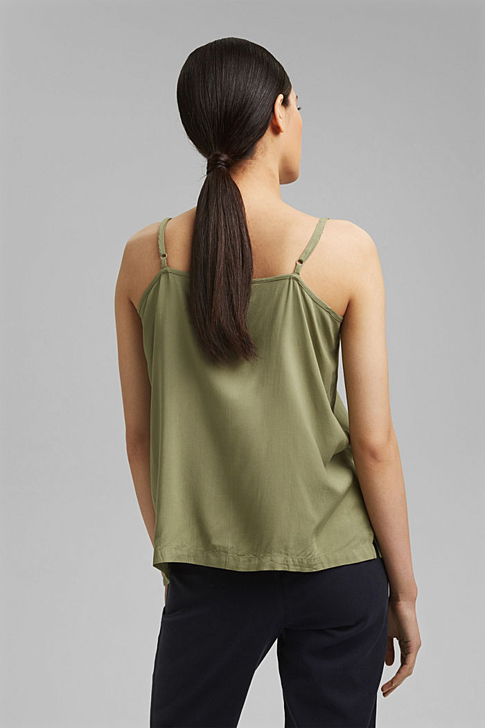 Spaghetti strap top made of LENZING™ ECOVERO™, LIGHT KHAKI, detail image number 3