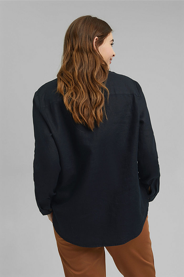 CURVY tunic blouse made of 100% linen, BLACK, detail image number 3