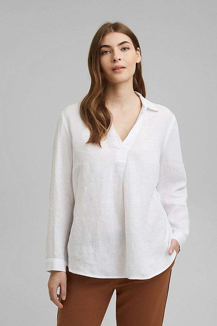 CURVY tunic blouse made of 100% linen, WHITE, detail image number 0
