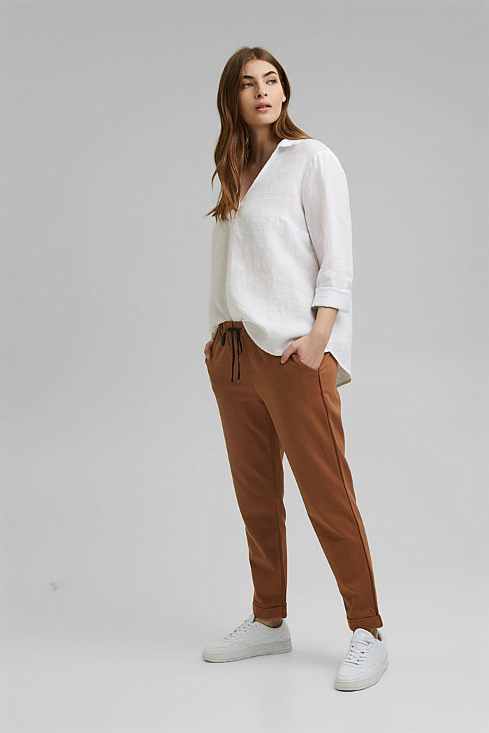 CURVY Tunika-Bluse aus 100% Leinen, WHITE, detail image number 7