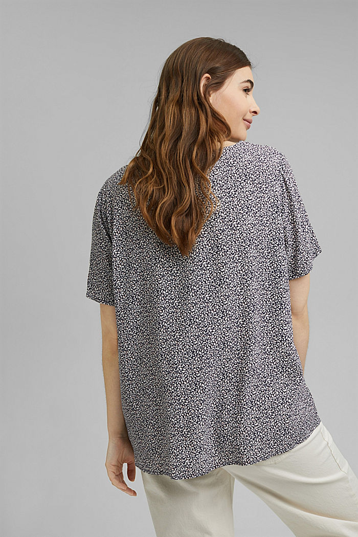 CURVY blouse top with a floral print, NAVY, detail image number 3